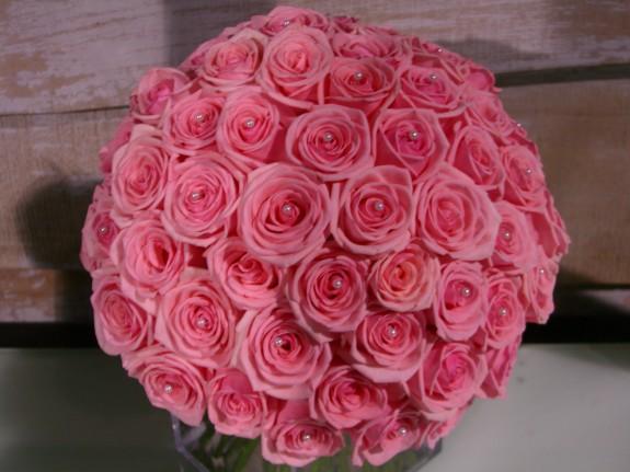 bouquet de mariée roses rose + perles (4)